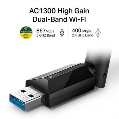 Placa De Red Tp-link Archer T3u Plus Usb 3.0 5 Ghz 2.4g Hz Dual Band Ac1300