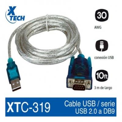 Cable Conversor  Xtech Usb A Serie Xtc-319 3 Metros Chip Ch340
