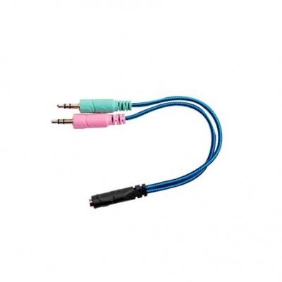 Auricular + Mic Gamer Nisuta Adaptador 2 Plug Stereo Macho A Hembra 4 Contactos Adst2st3